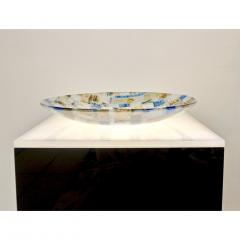 V v Glass Contemporary Italian Blue Pink Yellow Copper Murano Art Glass Mosaic Centerpiece - 1189244