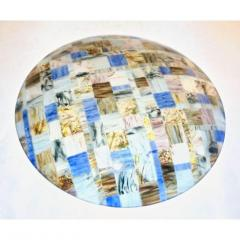V v Glass Contemporary Italian Blue Pink Yellow Copper Murano Art Glass Mosaic Centerpiece - 1189245