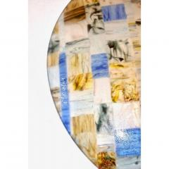 V v Glass Contemporary Italian Blue Pink Yellow Copper Murano Art Glass Mosaic Centerpiece - 1189247