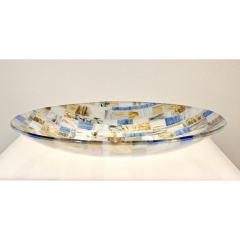 V v Glass Contemporary Italian Blue Pink Yellow Copper Murano Art Glass Mosaic Centerpiece - 1189248