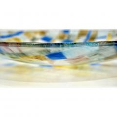 V v Glass Contemporary Italian Blue Pink Yellow Copper Murano Art Glass Mosaic Centerpiece - 1189251