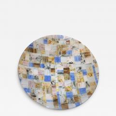 V v Glass Contemporary Italian Blue Pink Yellow Copper Murano Art Glass Mosaic Centerpiece - 1189303