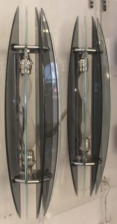 VECA Large Pair of Italian Veca Bi Color Glass Sconces 1970s - 57094
