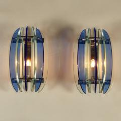 VECA Pair of 1970s Italian chrome and blue and greenglass wall lights by Veca - 1964466