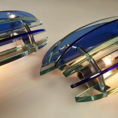VECA Pair of 1970s Italian chrome and blue and greenglass wall lights by Veca - 1964492