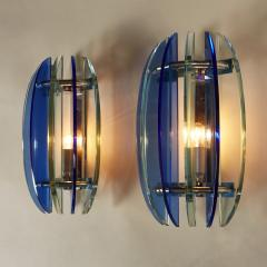 VECA Pair of 1970s Italian chrome and blue and greenglass wall lights by Veca - 1964496