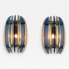 VECA Pair of 1970s Italian chrome and blue and greenglass wall lights by Veca - 1966869