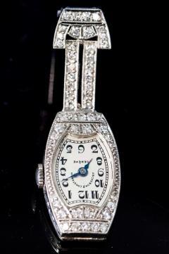 Vacheron Constantin 1920s Platinum Art Deco Vacheron Constantin Diamond Set Lapel or Necklace Watch - 1098087