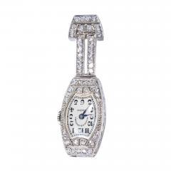 Vacheron Constantin 1920s Platinum Art Deco Vacheron Constantin Diamond Set Lapel or Necklace Watch - 1099225