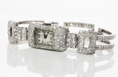 Vacheron Constantin 1920s Vacheron Constantin Platinum 20 Carat Diamond Cuff Bracelet Watch - 867716