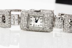 Vacheron Constantin 1920s Vacheron Constantin Platinum 20 Carat Diamond Cuff Bracelet Watch - 867724