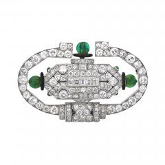 Vacheron Constantin Art Deco Lacloche Platinum Diamond Emerald Brooch Watch - 471739