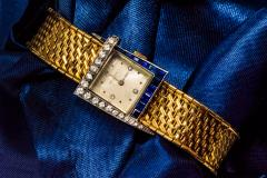 Vacheron Constantin Unique 1960s 18Kt Vacheron Constantin Asymmetrical Sapphire Diamond Wristwatch - 1137198