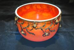 Val Cie Art Nouveau signed Val Cie Bronze and Art Glass Bowl - 1195369