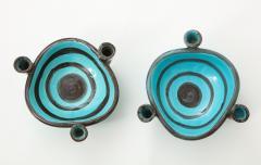 Vallauris Pair of Vallauris Blue Ceramic Candelabra Cups France c 1955 - 1224165