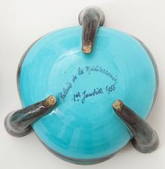 Vallauris Pair of Vallauris Blue Ceramic Candelabra Cups France c 1955 - 1224175