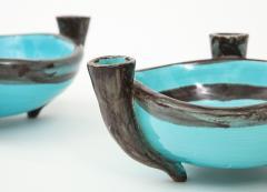 Vallauris Pair of Vallauris Blue Ceramic Candelabra Cups France c 1955 - 1224176