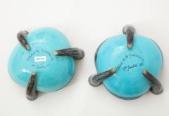 Vallauris Pair of Vallauris Blue Ceramic Candelabra Cups France c 1955 - 1224177
