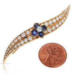 Van Cleef Arpels FRENCH VAN CLEEF ARPELS SAPPHIRE FLORAL AND DIAMOND PIN BROOCH 18K YELLOW - 1964976
