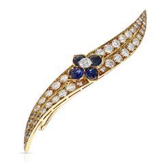 Van Cleef Arpels FRENCH VAN CLEEF ARPELS SAPPHIRE FLORAL AND DIAMOND PIN BROOCH 18K YELLOW - 1964977