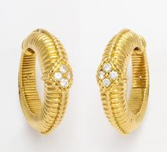 Van Cleef Arpels Gold Diamond Hoop Earrings by Van Cleef Arpels - 258829