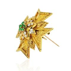Van Cleef Arpels MALTESE CR 18K YELLOW GOLD DIAMOND AND EMERALD PENDANT AND BROOCH - 1797426