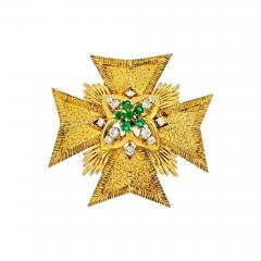 Van Cleef Arpels MALTESE CR 18K YELLOW GOLD DIAMOND AND EMERALD PENDANT AND BROOCH - 1798636