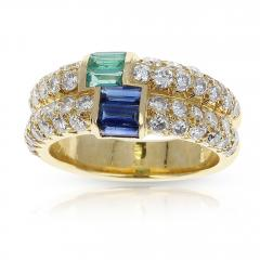 Van Cleef Arpels PARIS VAN CLEEF ARPELS EMERALD AND SAPPHIRE BAGUETTES WITH ROUND DIAMONDS RING - 1964937
