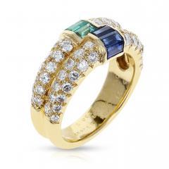 Van Cleef Arpels PARIS VAN CLEEF ARPELS EMERALD AND SAPPHIRE BAGUETTES WITH ROUND DIAMONDS RING - 1964938