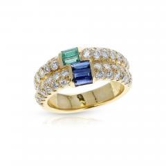 Van Cleef Arpels PARIS VAN CLEEF ARPELS EMERALD AND SAPPHIRE BAGUETTES WITH ROUND DIAMONDS RING - 1965670