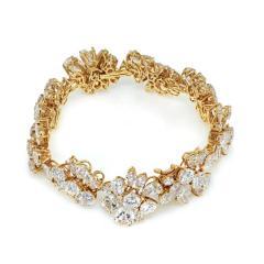 Van Cleef Arpels PLATINUM 18K YELLOW GOLD 47CTTW FANCY SHAPED FLORAL MOTIF DIAMOND BRACELET - 1797449