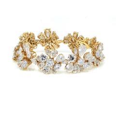 Van Cleef Arpels PLATINUM 18K YELLOW GOLD 47CTTW FANCY SHAPED FLORAL MOTIF DIAMOND BRACELET - 1797450