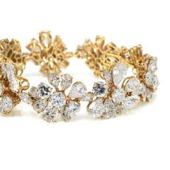 Van Cleef Arpels PLATINUM 18K YELLOW GOLD 47CTTW FANCY SHAPED FLORAL MOTIF DIAMOND BRACELET - 1797451