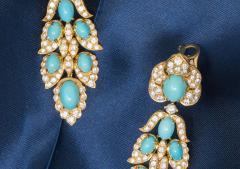 Van Cleef Arpels Rare 1970s Van Cleef Arpels Diamond Set Persian Turquoise Earrings Clips - 434927