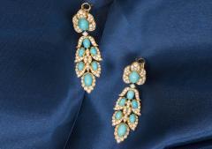 Van Cleef Arpels Rare 1970s Van Cleef Arpels Diamond Set Persian Turquoise Earrings Clips - 434928