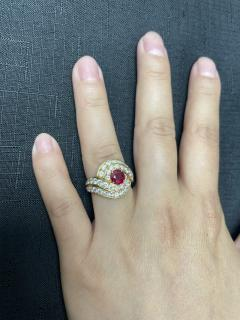 Van Cleef Arpels VAN CLEEF ARPELS 0 95 CT ROUND CENTER RUBY AND 2 10 CT DIAMOND COCKTAIL RING - 2086706