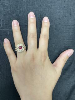 Van Cleef Arpels VAN CLEEF ARPELS 0 95 CT ROUND CENTER RUBY AND 2 10 CT DIAMOND COCKTAIL RING - 2086707
