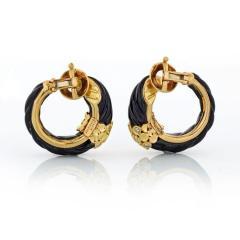 Van Cleef Arpels VAN CLEEF ARPELS 18K YELLOW GOLD CARVED EBONY AND DIAMOND HOOP EARRINGS - 1797454