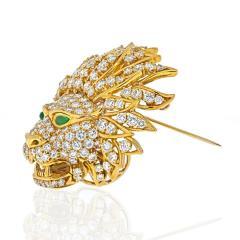 Van Cleef Arpels VAN CLEEF ARPELS 18K YELLOW GOLD DIAMOND LION HEAD MASK EMERALD EYES BROOCH - 2029644