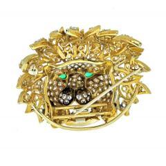 Van Cleef Arpels VAN CLEEF ARPELS 18K YELLOW GOLD DIAMOND LION HEAD MASK EMERALD EYES BROOCH - 2029645