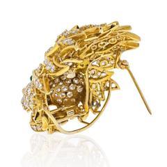 Van Cleef Arpels VAN CLEEF ARPELS 18K YELLOW GOLD DIAMOND LION HEAD MASK EMERALD EYES BROOCH - 2029646