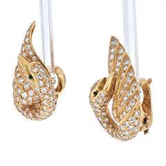Van Cleef Arpels VAN CLEEF ARPELS 18K YELLOW GOLD DIAMOND SWAN EARRINGS - 1932175