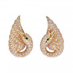 Van Cleef Arpels VAN CLEEF ARPELS 18K YELLOW GOLD DIAMOND SWAN EARRINGS - 1934887