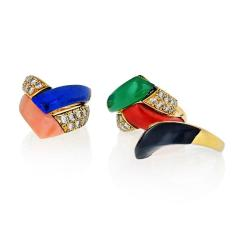 Van Cleef Arpels VAN CLEEF ARPELS 18K YELLOW GOLD DIAMONDS MULTICOLOR GEM STACK RING - 1721196