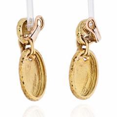 Van Cleef Arpels VAN CLEEF ARPELS 18K YELLOW GOLD HAMMERED FINISH OVAL MEDALLION EARRINGS - 1902670
