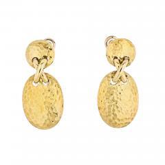 Van Cleef Arpels VAN CLEEF ARPELS 18K YELLOW GOLD HAMMERED FINISH OVAL MEDALLION EARRINGS - 1904940