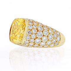 Van Cleef Arpels VAN CLEEF ARPELS 18K YELLOW GOLD OVAL CUT YELLOW SAPPHIRE PAVE DIAMOND RING - 2029643