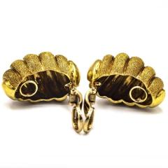 Van Cleef Arpels VAN CLEEF ARPELS 18K YELLOW GOLD SHRIMP SAND FINISH VINTAGE CLIP ON EARRINGS - 1797407