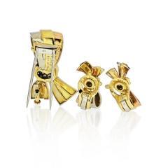 Van Cleef Arpels VAN CLEEF ARPELS BOW 18K TRI COLOR EARRINGS AND BROOCH DIAMOND JEWELRY SET - 1797434