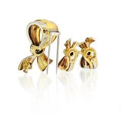 Van Cleef Arpels VAN CLEEF ARPELS BOW 18K TRI COLOR EARRINGS AND BROOCH DIAMOND JEWELRY SET - 1797436
